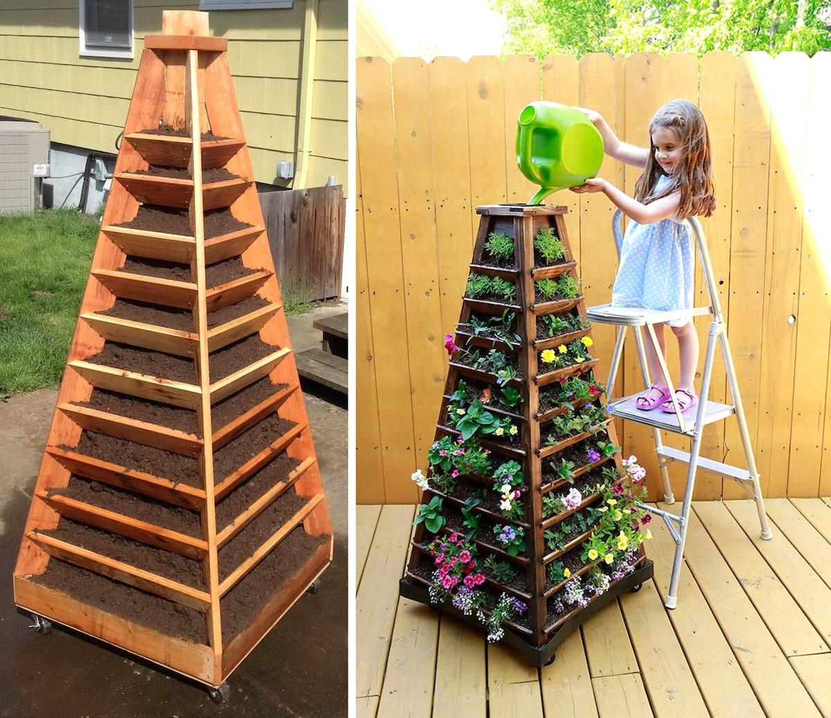 Необычная деревянная клумба выполненная в виде четырехугольной пирамиды понравиться не только вам, но и вашим детям