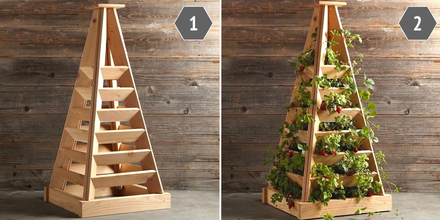 Использовать в качестве украшения клумбу пирамиду можно как внутри помещения, так и снаружи