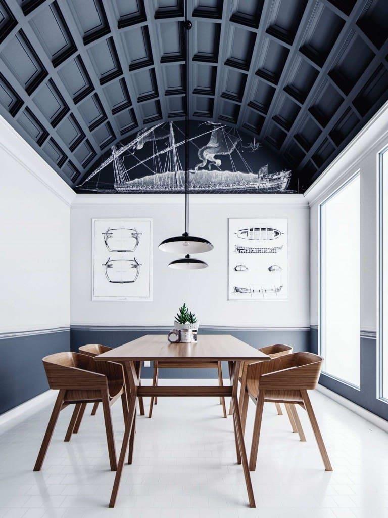 Красивый высокий потолок в форме арки с интересным дизайном
