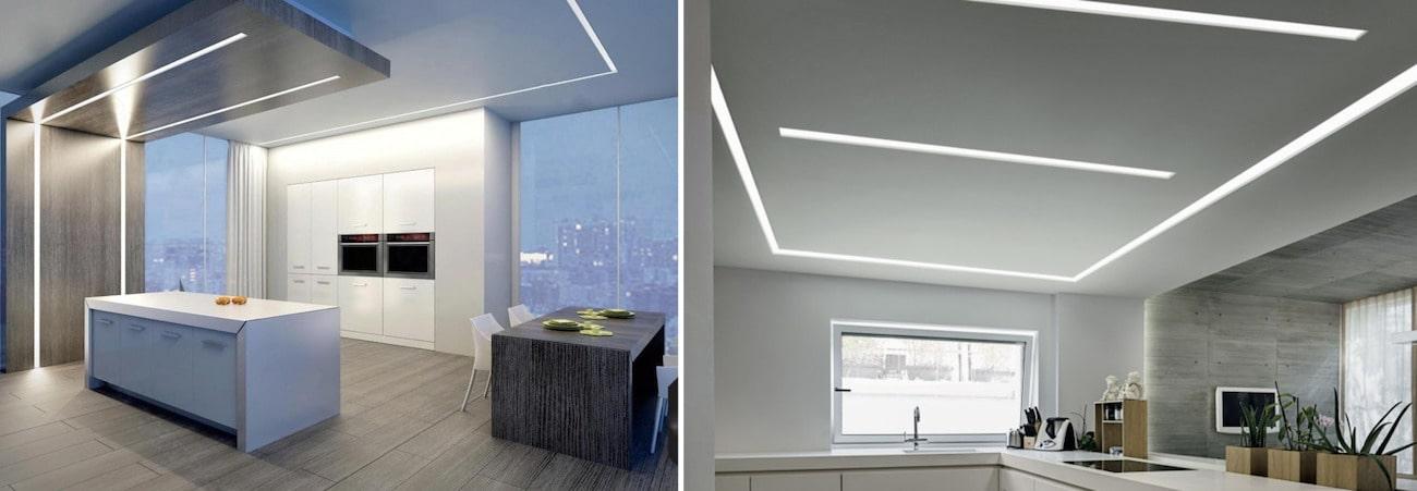 Парящая линия на потолке в интерьере кухни выглядит стильно