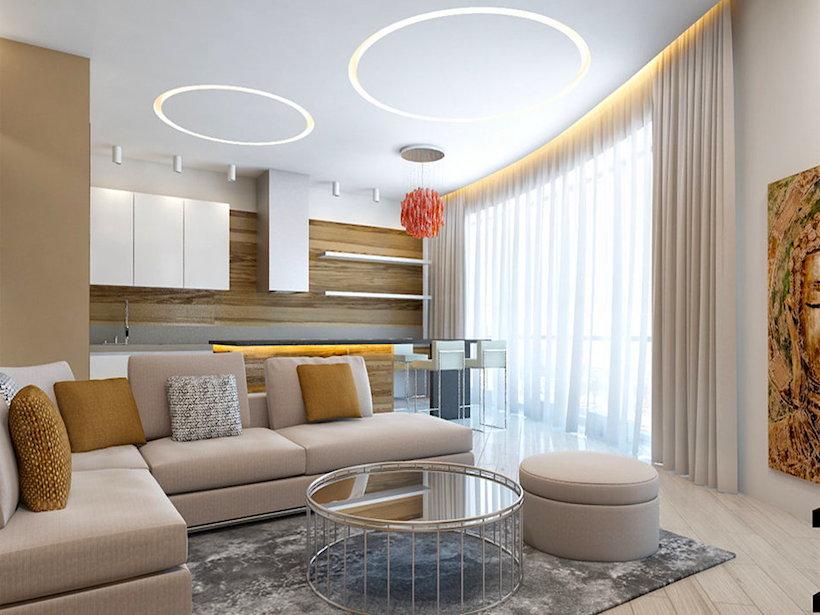 Дизайнерский интерьер с геометрическими фигурами, повторяющиеся формы даже на потолке