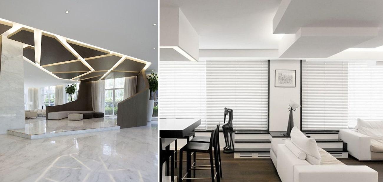 Модный потолки 2020 со сложной конструкцией и подсветкой