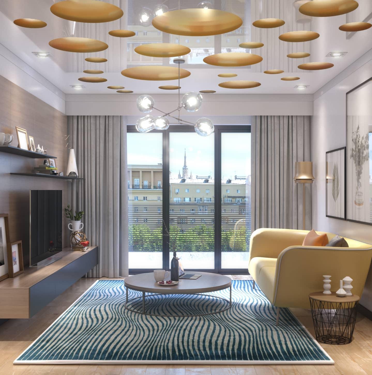 Современный дизайн потолка в гостиной