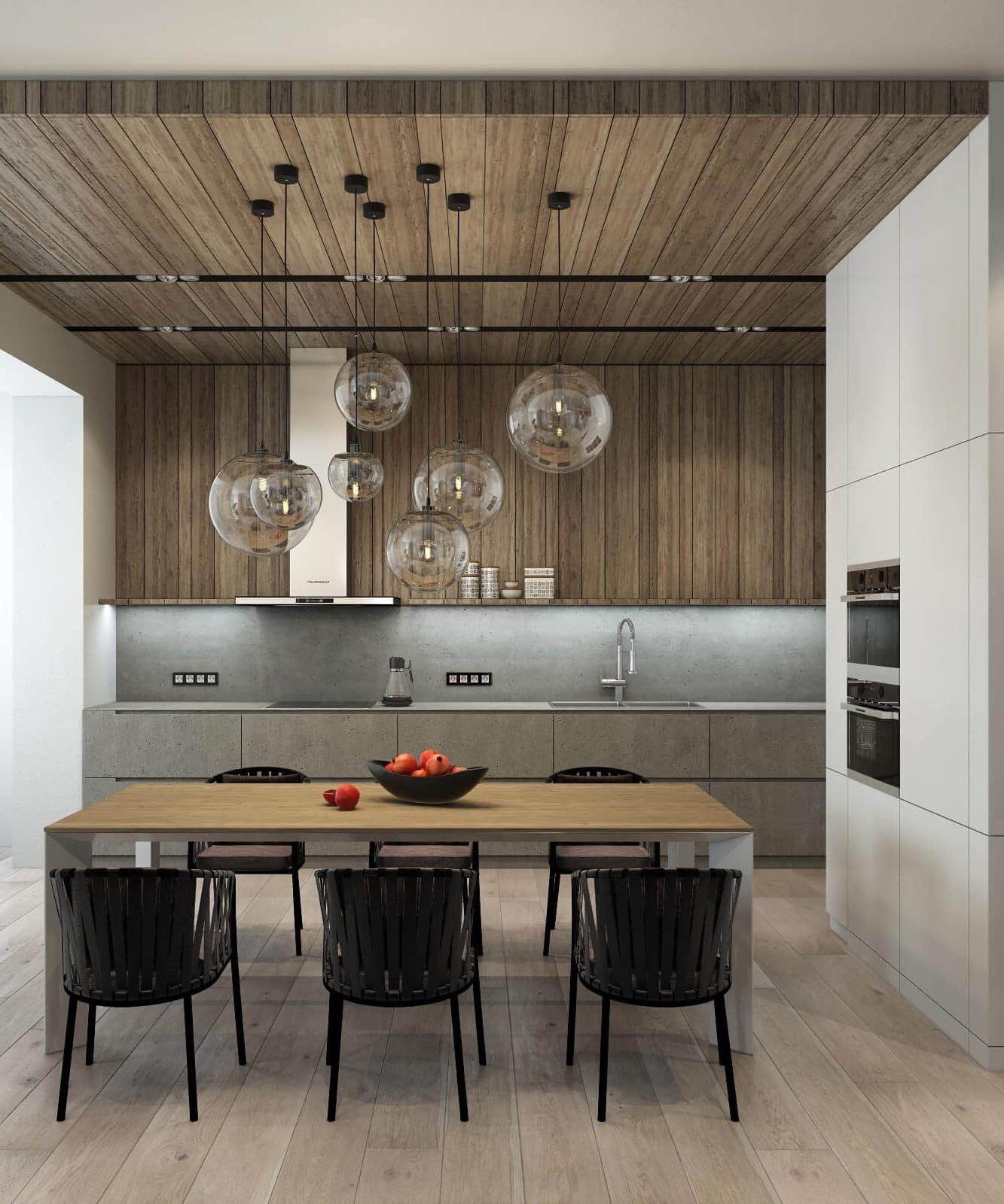 Подвесные светильники из прозрачного стекла добавят легкости в строго оформленное помещение