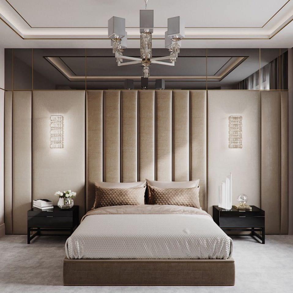 Красивый интерьер спальни в теплых тонах