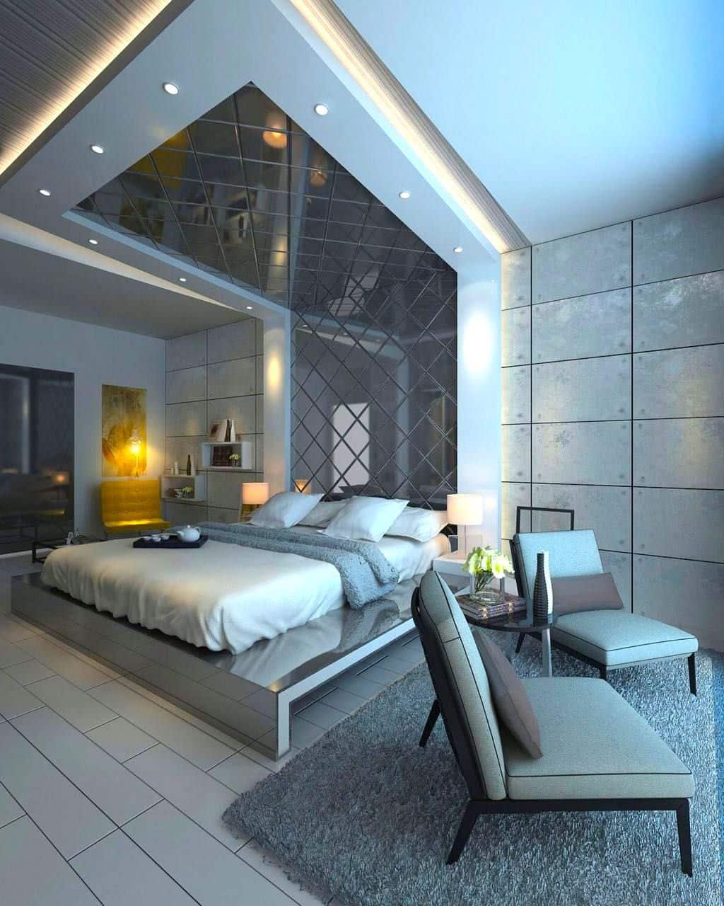 Дизайн спальни с изголовьем переходящим в потолок
