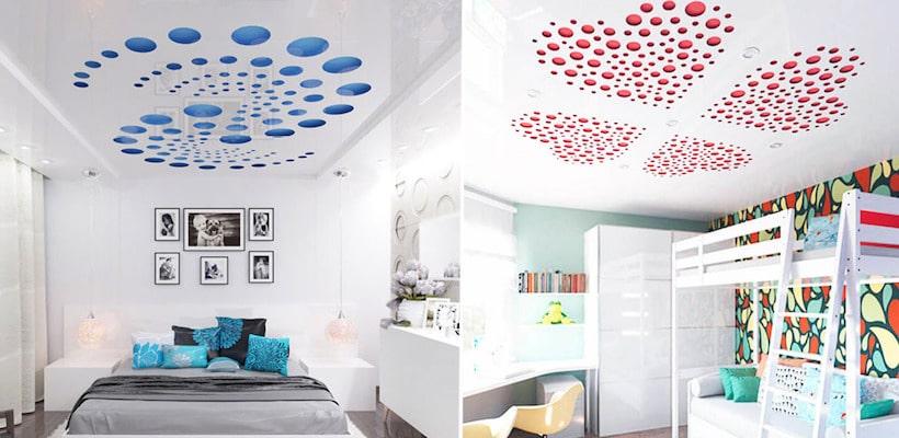 Резной натяжной потолок в интерьере спальни как взрослой, так и детской - выглядит необычно и красиво