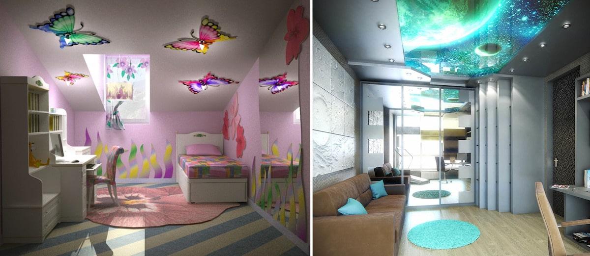 Большой популярностью 3D потолоки пользуются в детских комнатах