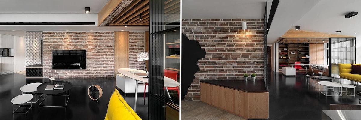 Современная квартира-студия с ярким акцентами в интерьере