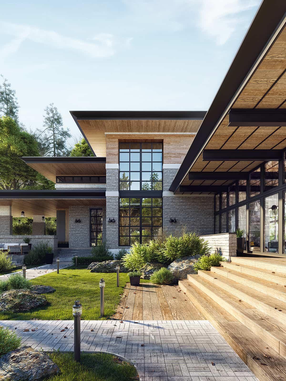 Современный загородный дом где слились воедино очарование альпийского стиля и атмосфера шарма и гармонии