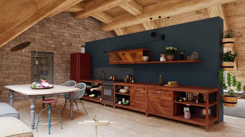 модная кухня из дерева