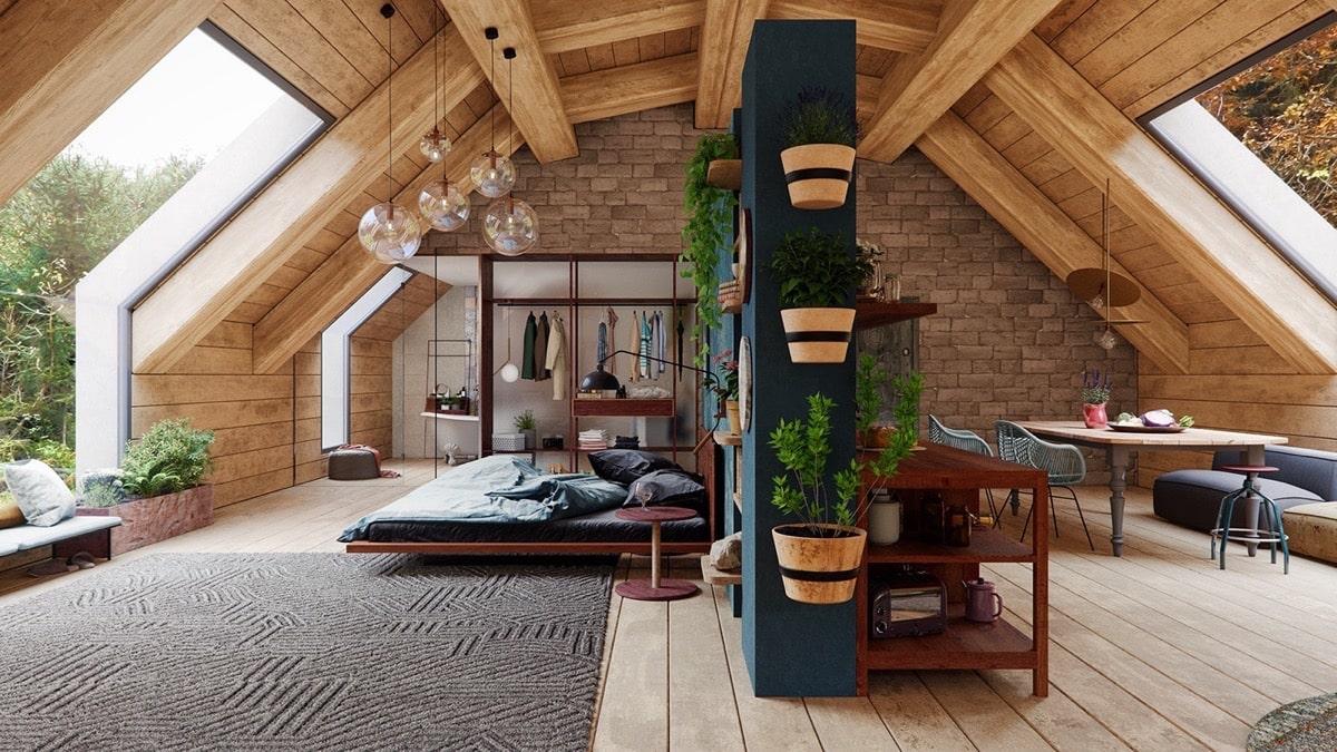 Удачное применение натурального камня и дерева в оформлении мансардного этажа частного дома