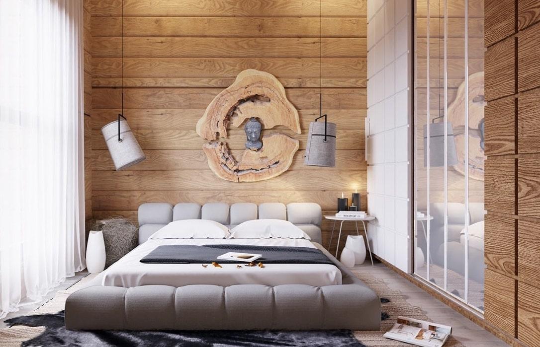 Спальня в деревянном доме может быть в любом стиле