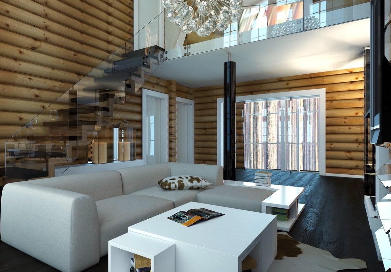 Стеклянное ограждение лестницы создает привлекательный декоративный акцент, способный привлекать к себе всеобщее внимание