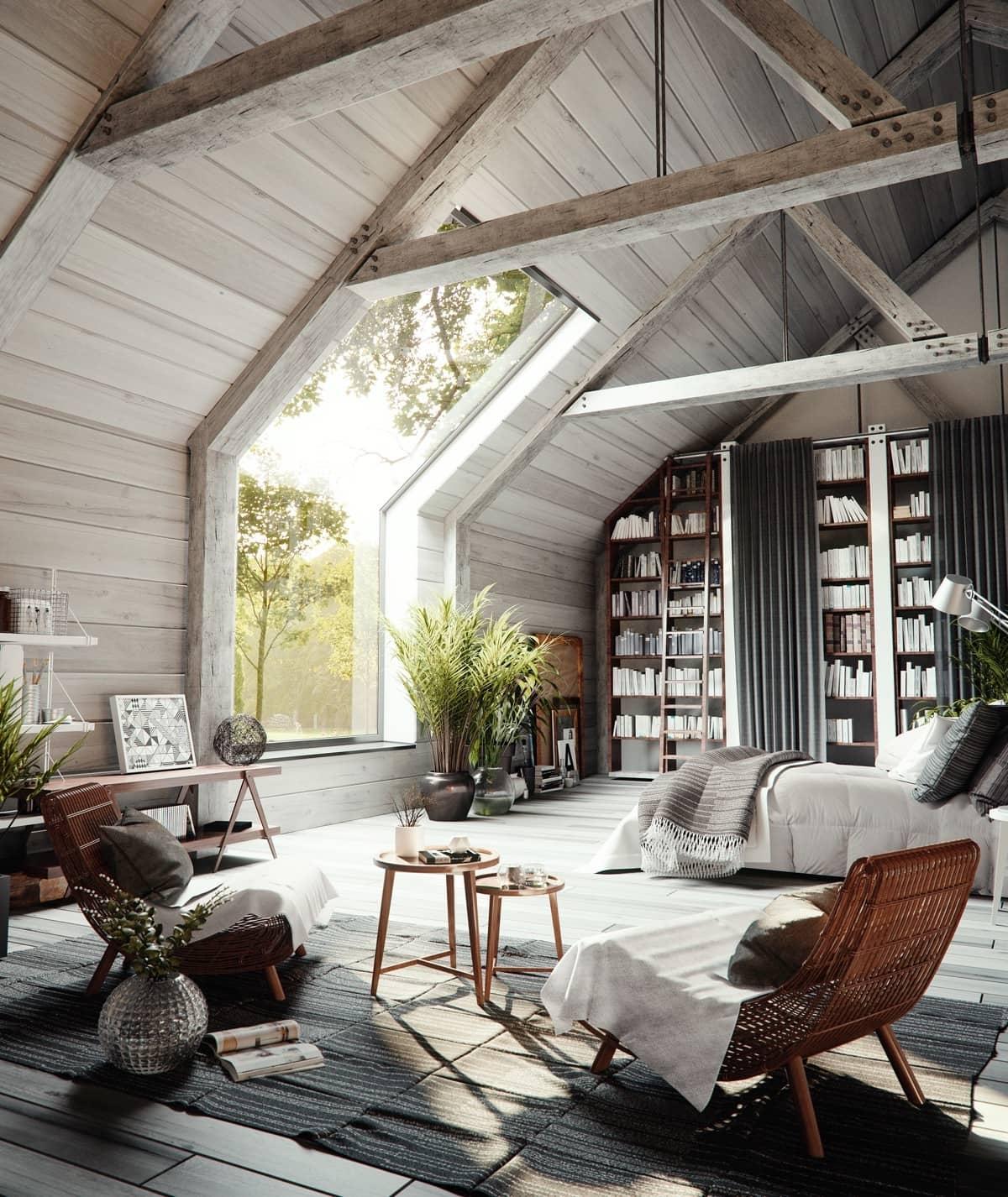 Максимум света и живой природы в спальне