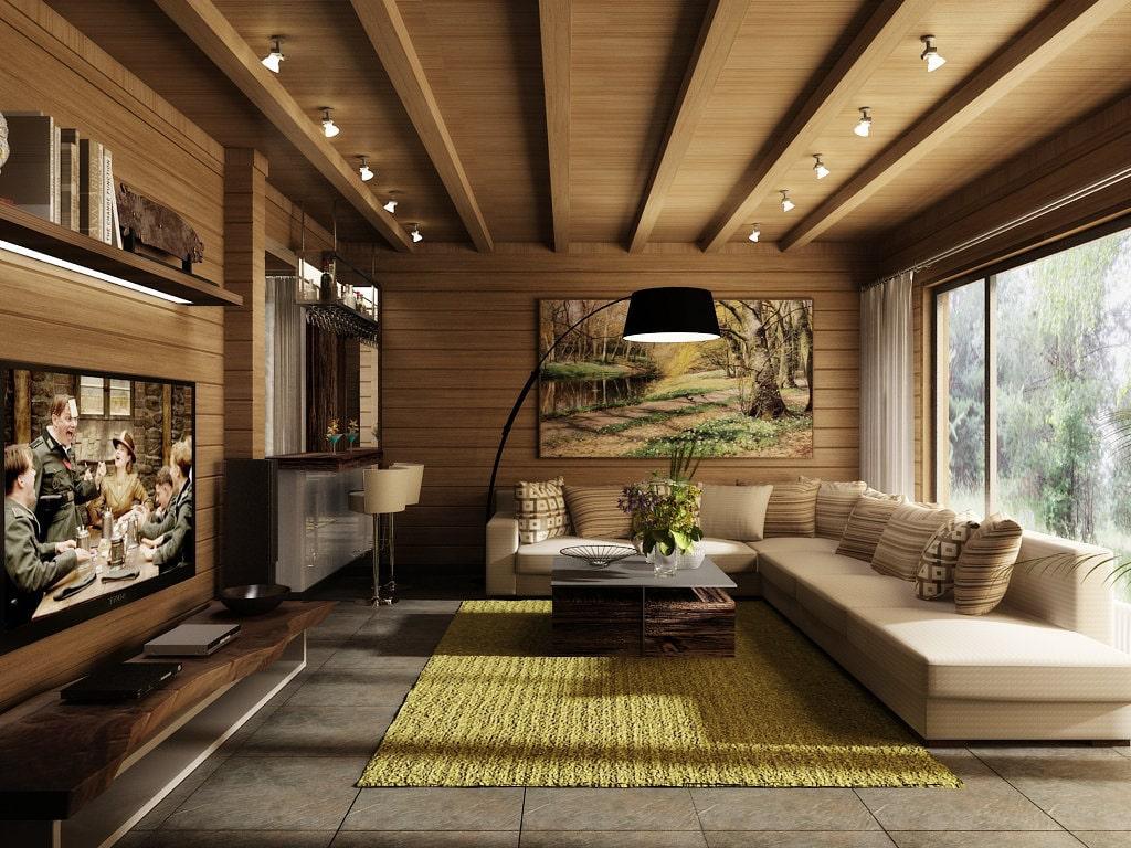 Уютная и стильная гостиная в деревянном доме