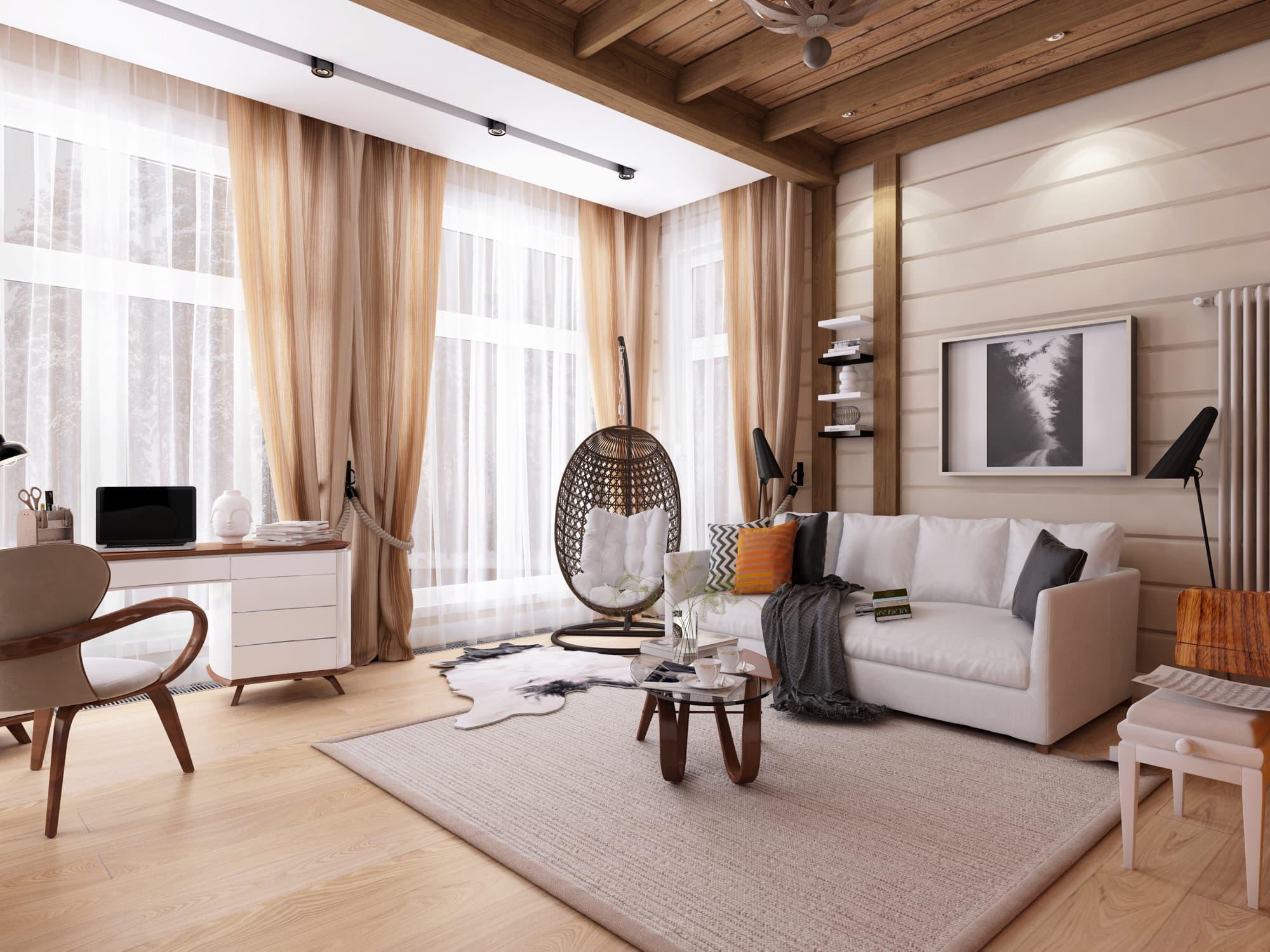Прозрачный тюль дополняет концепцию комнаты