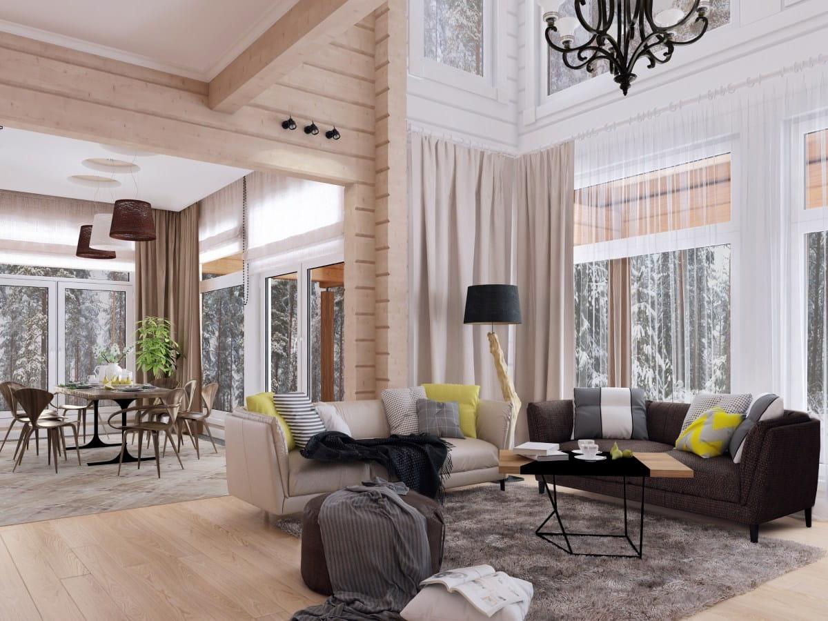 Дизайн дома с панорамными окнами по всему периметру