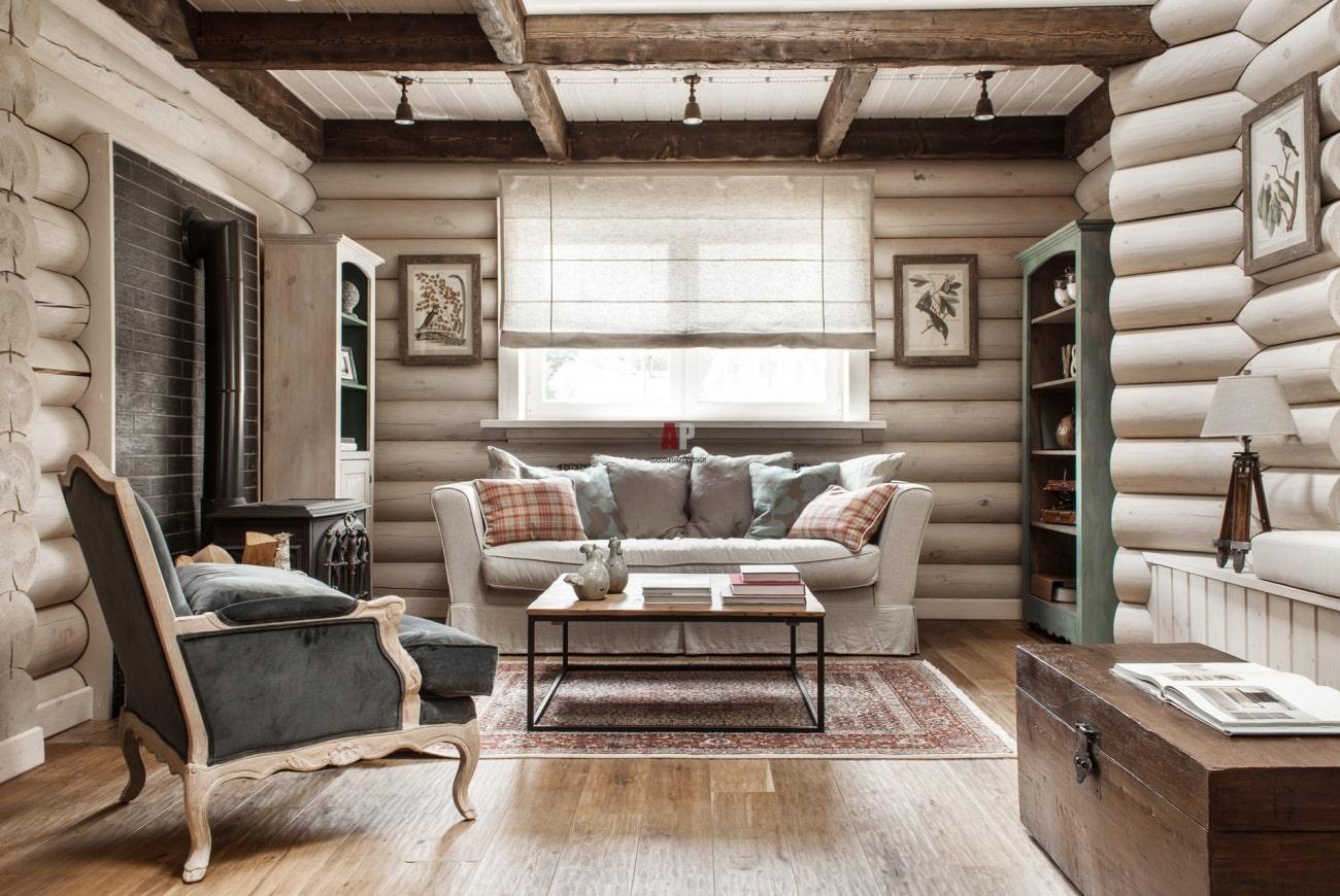 Выбеленные бревна в интерьере дома - красиво и модно
