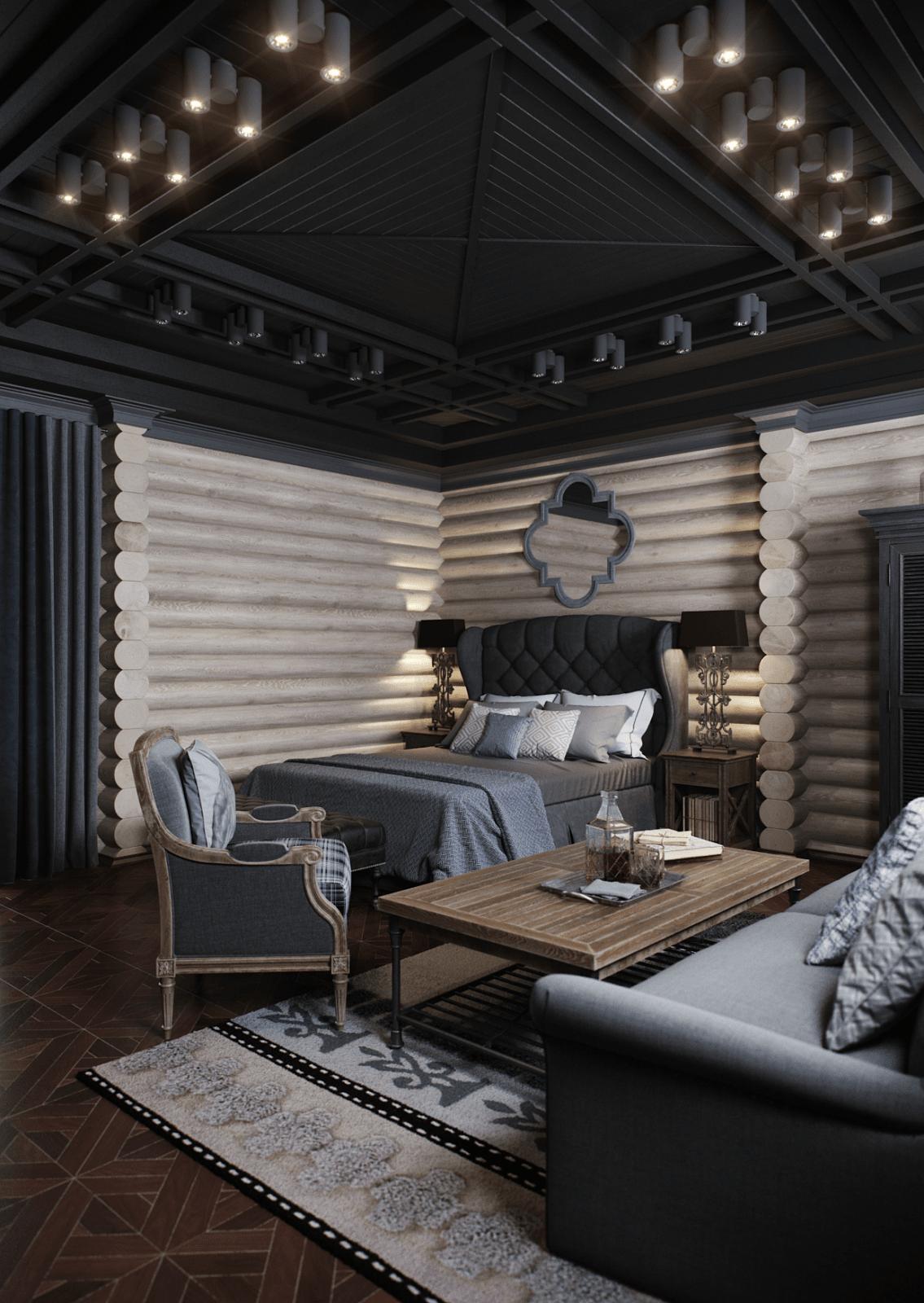Интересный вариант оформления деревянного потолка