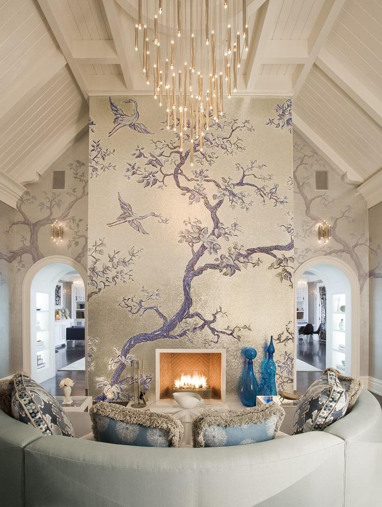Интересная идея для оформления уютной гостинной с камином