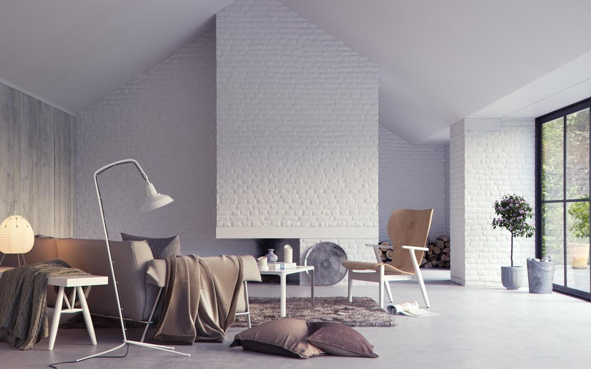 Белоснежный кирпич в интерьере выглядит благородно и эстетично