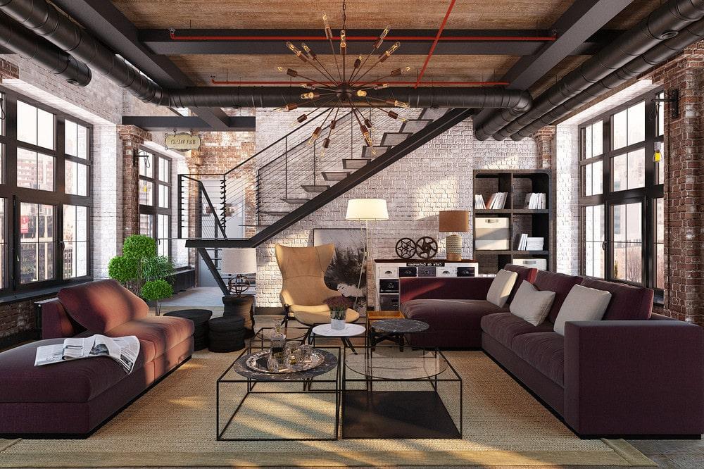 Как правило, в интерьере гостиной лофт устанавливают металлическую или бетонную лестницу