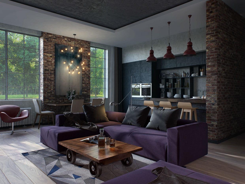 Уютная и просторная гостиная с большими открытыми окнами