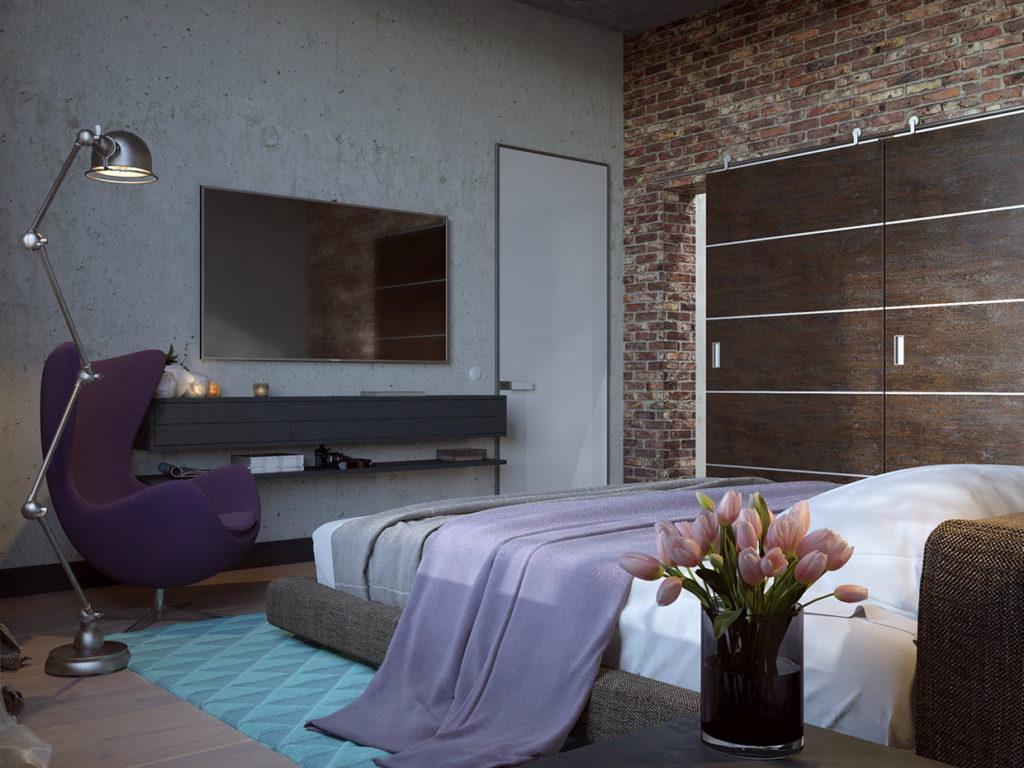 спальня кирпичная стена в современной спальне