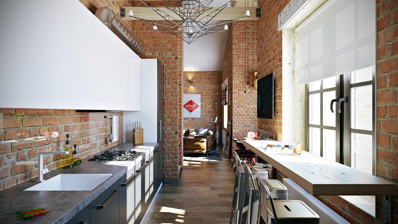 Дизайн-проект интерьера квартиры с отделкой стен из красного кирпича