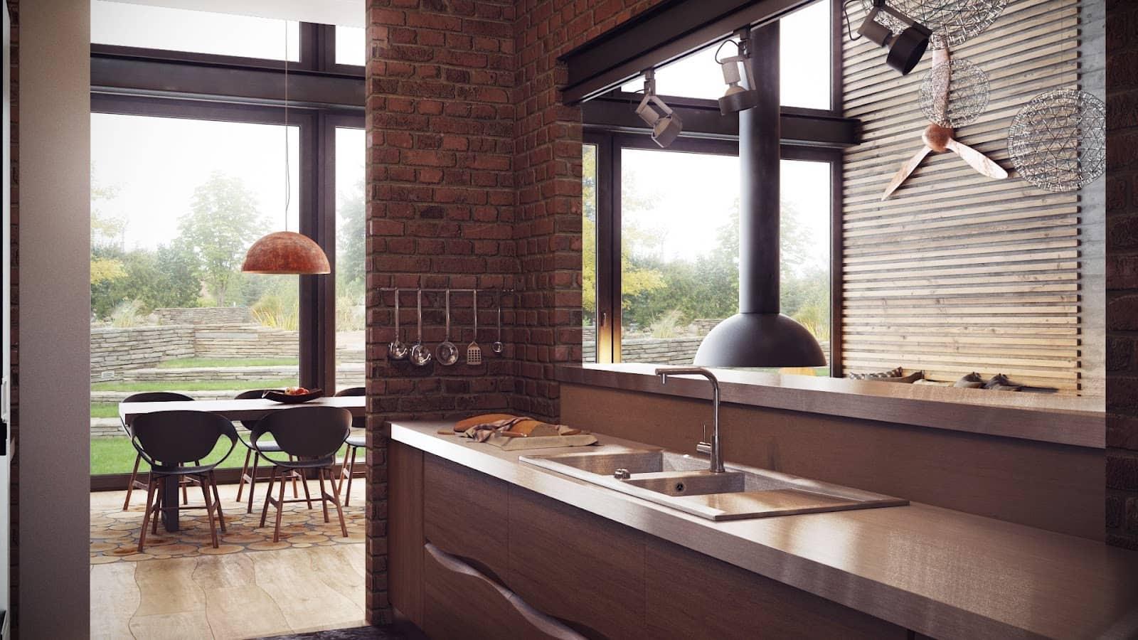 Как правило, кухня-лофт совмещена с гостиной или столовой