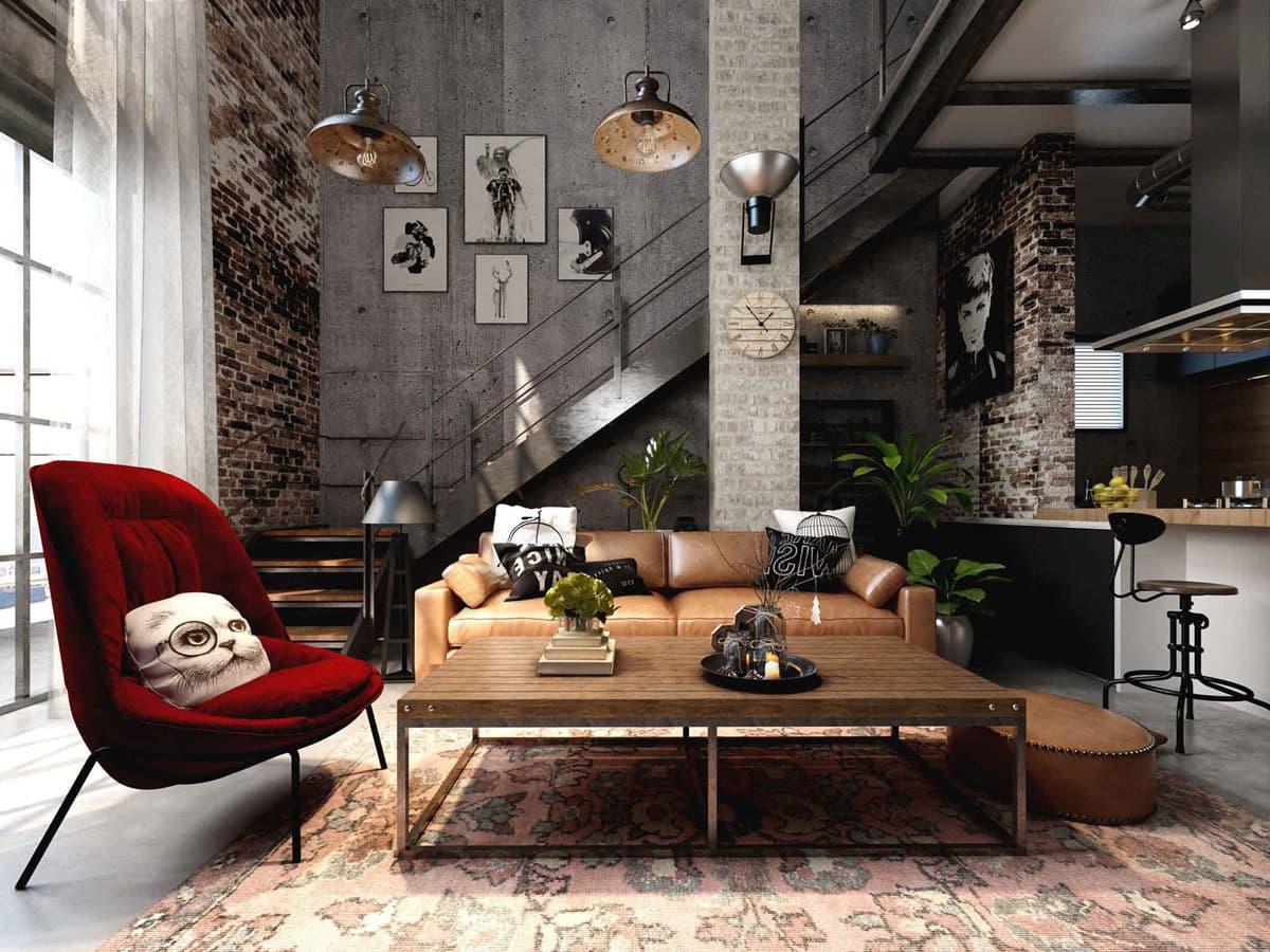 Современная и комфортная мебель на фоне грубых стен делает этот дизайн уникальным