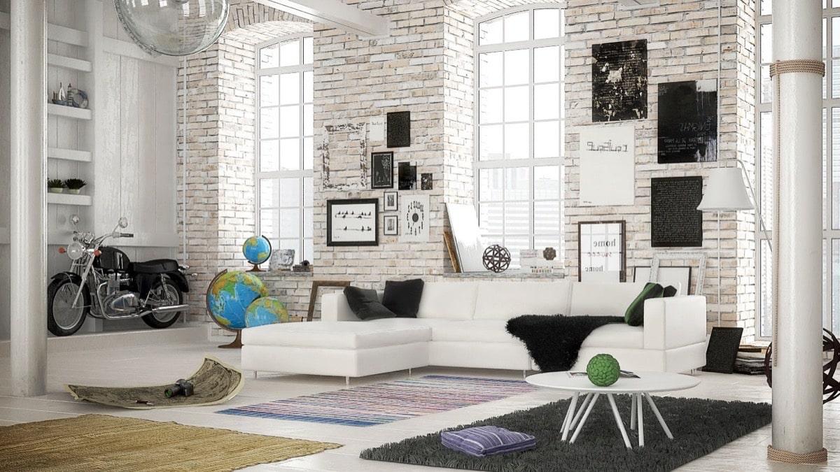 Неожиданное решение для оформления квартиры в стиле лофт в белом цвете