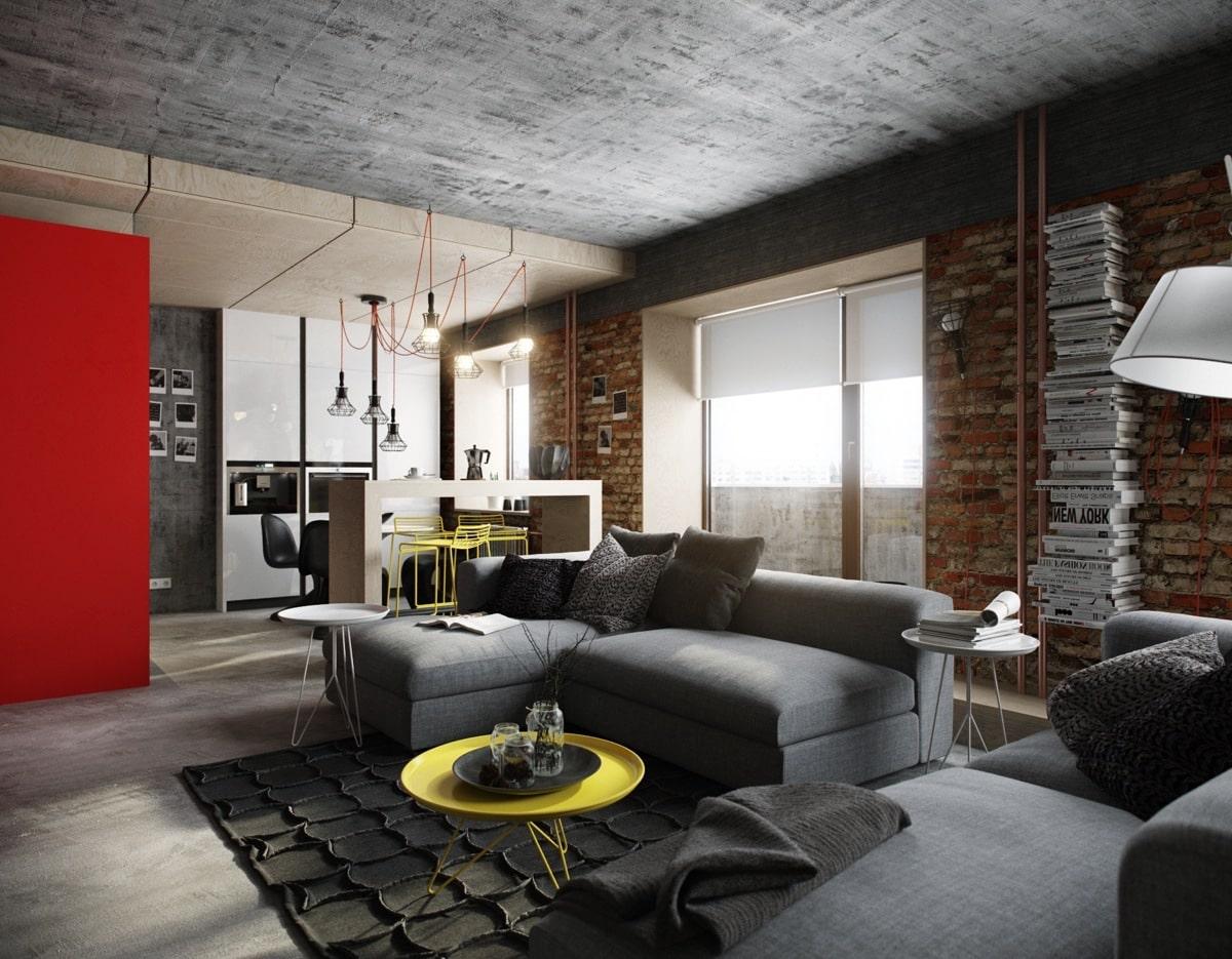 """Бетонный потолок и отделка стен кирпичной кладкой в современной квартире """"лофт"""""""