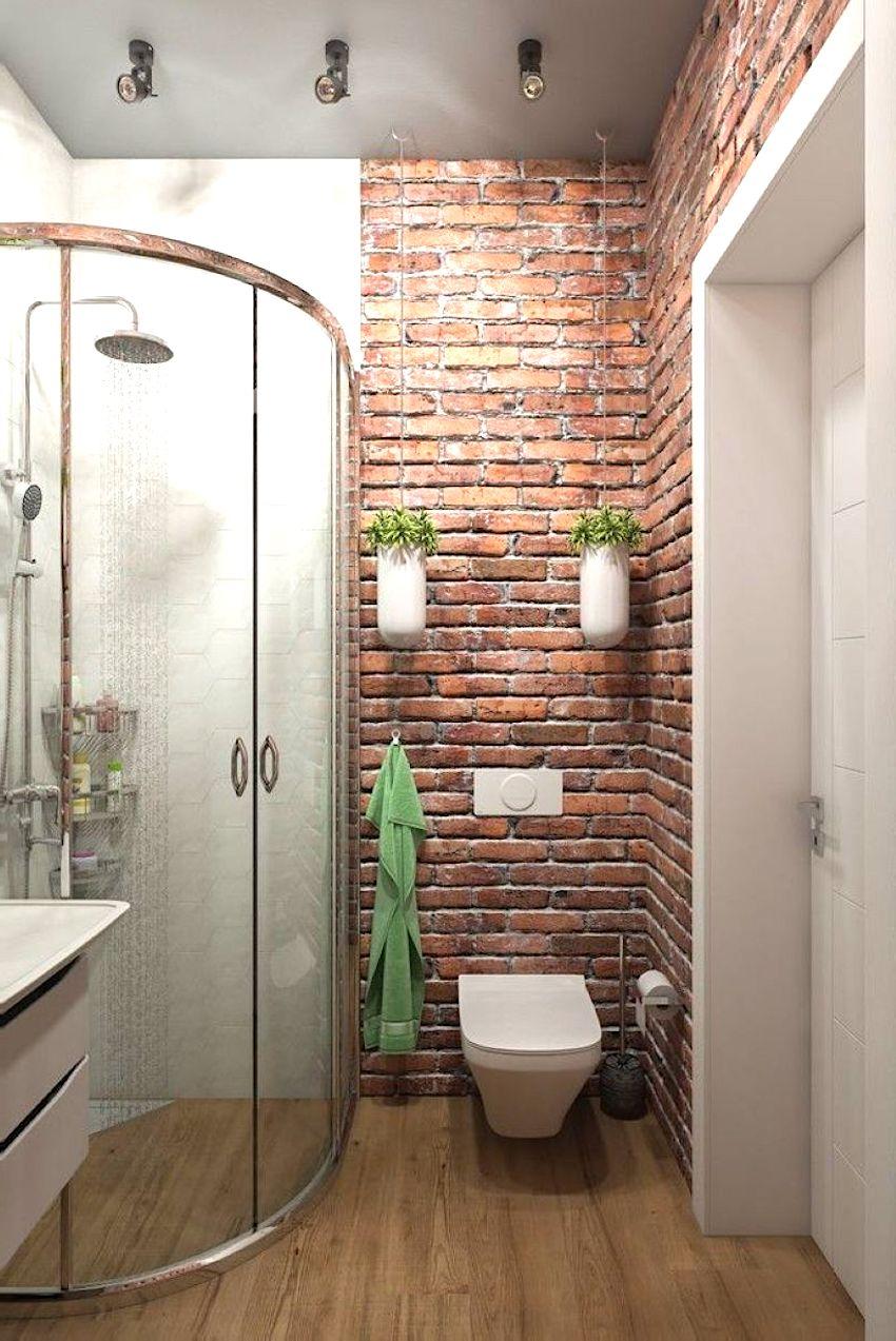 Чтобы стена из кирпича не выглядела слишком скучно, ее следует разбавить какими-то яркими акцентами, например подвесными горшочками с цветами