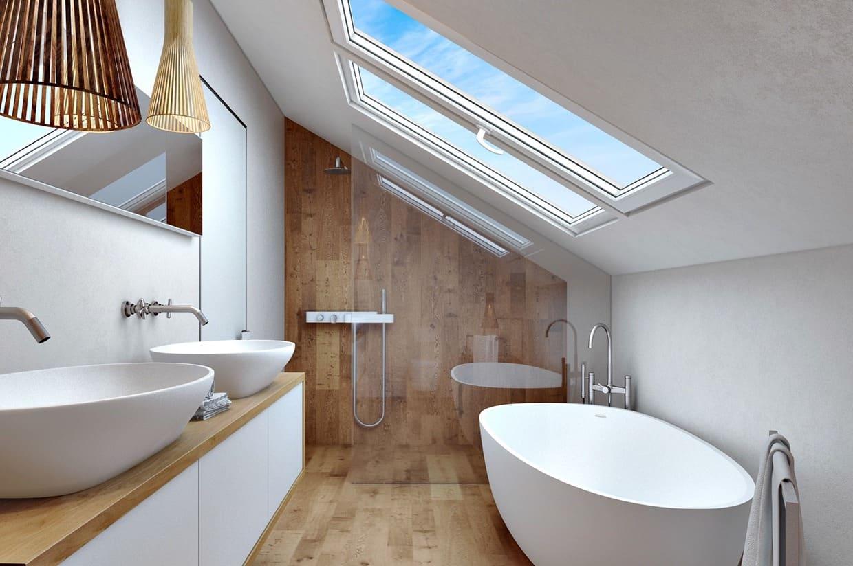 Роскошная белоснежная ванная с характерным для скандинавского интерьера ощущением чистоты
