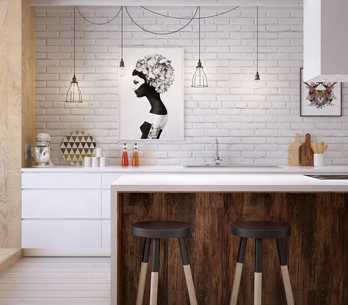 Ламинат можно использовать весьма оригинальным способом, например, применить его в частичной отделке фасада кухни