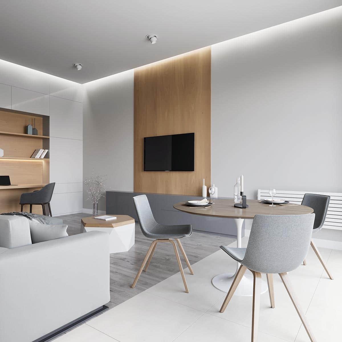 Светлый и лаконичный интерьер гостиной в скандинавском стиле