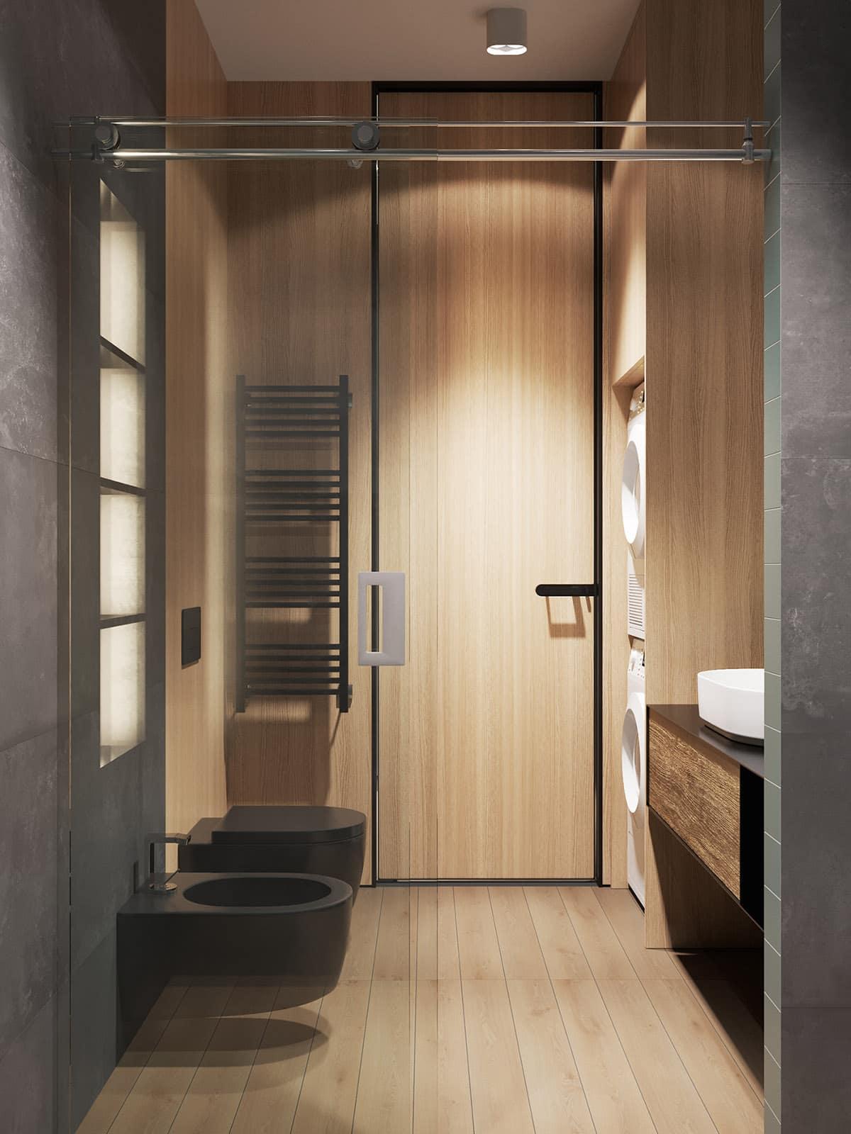 Оригинальное решение применения ламината на стенах в ванной комнате