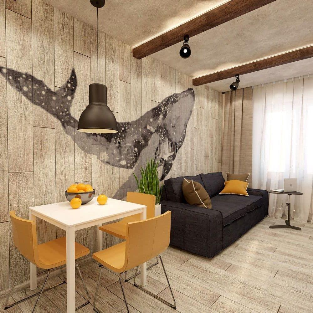 Чтобы комната не получилась скучной, лучше добавить сюда контрастные элементы декора