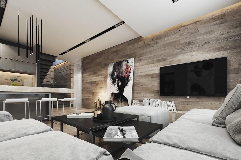 Интересный дизайн большой гостиной с натуральными материалами отделки