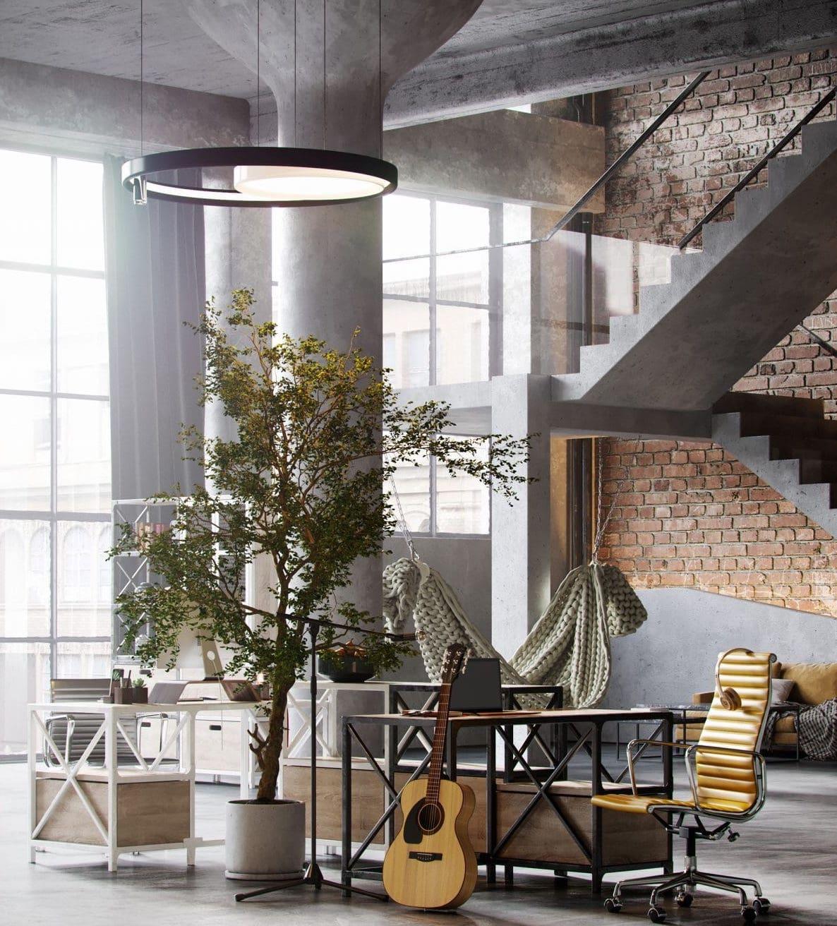 Яркие элементы декоративные и живые растения способны оживить бетонные стены
