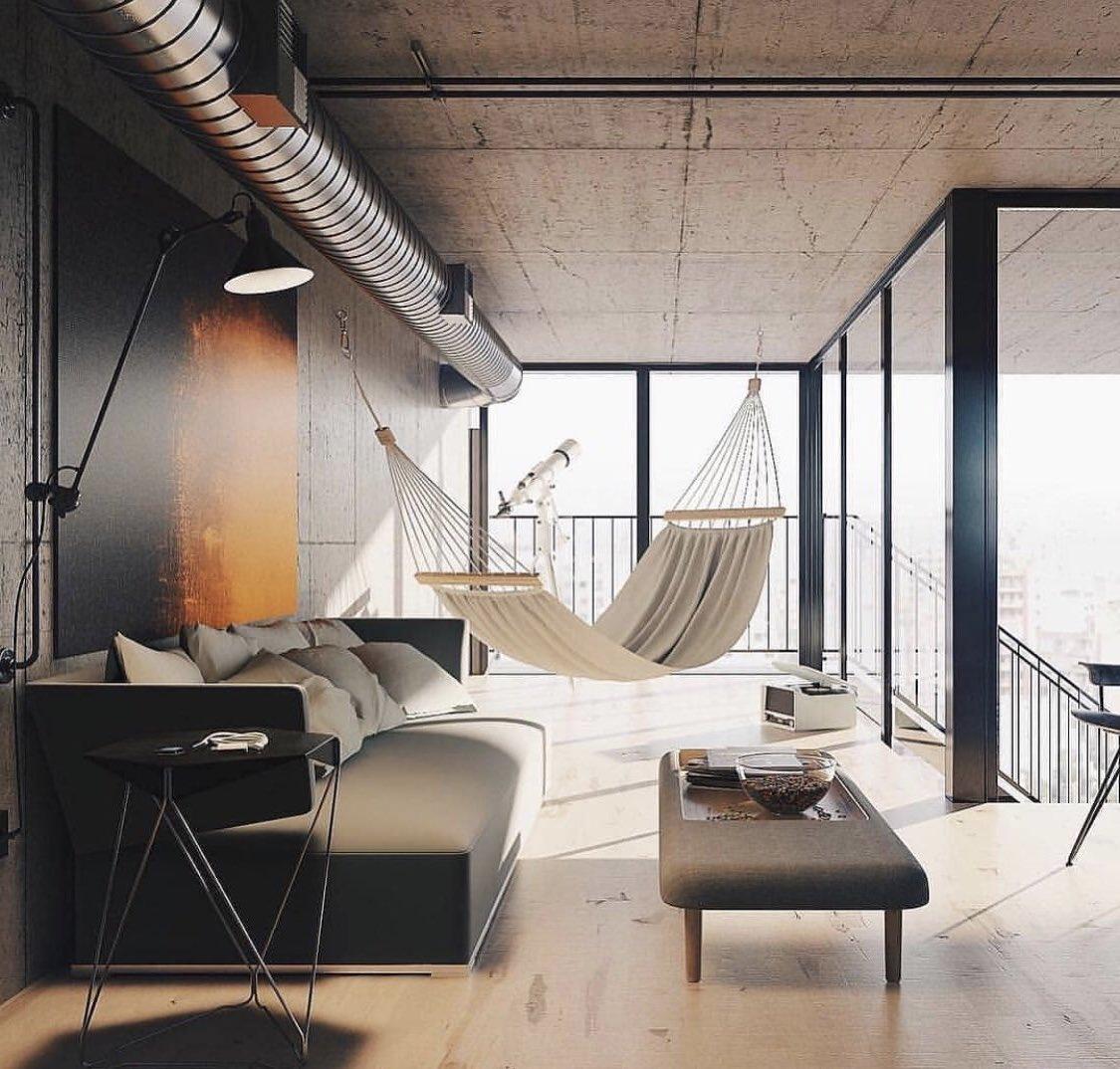 Гамак в гостиной поможет расслабиться после трудового дня