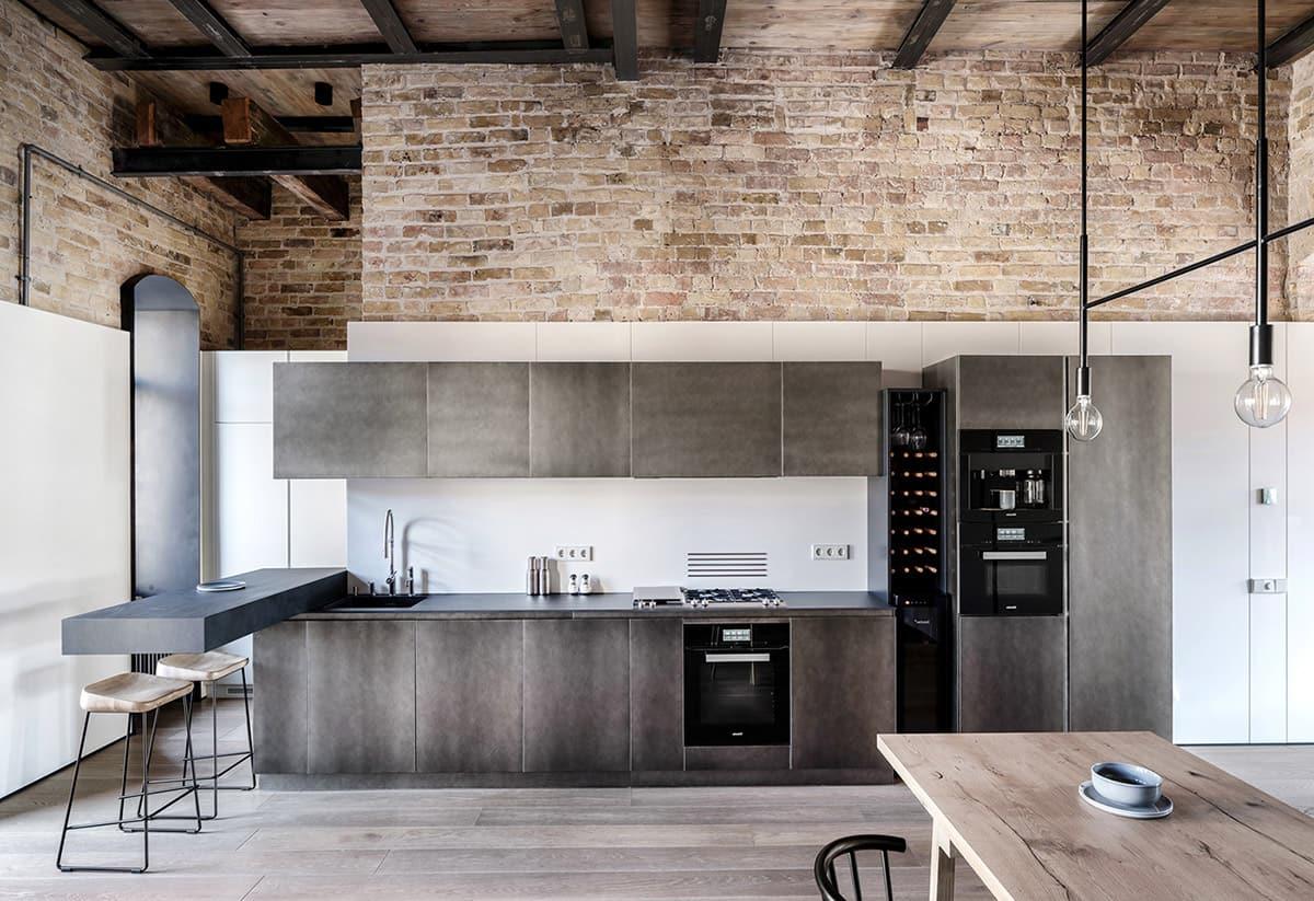 Минималистичный интерьер кухни-лофт