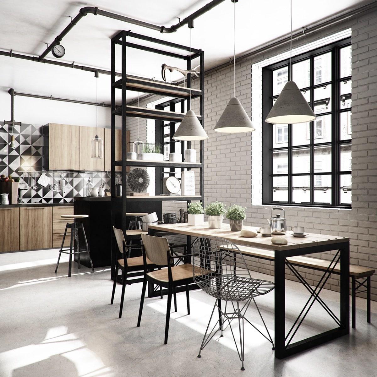 Сквозной металлический стеллаж не скрадывает пространство кухни