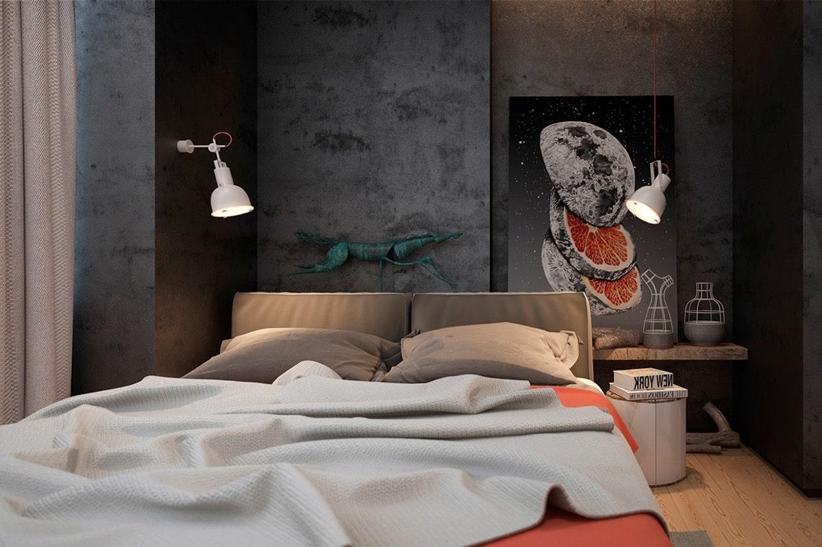 Уют и гармония в спальном интерьере лофт