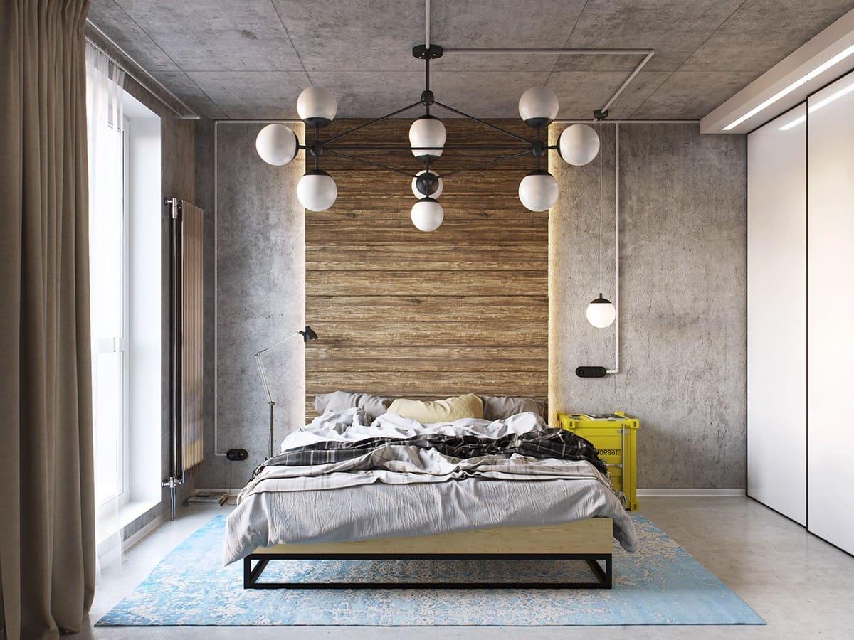 Ламинат на стене вместо изголовья кровати