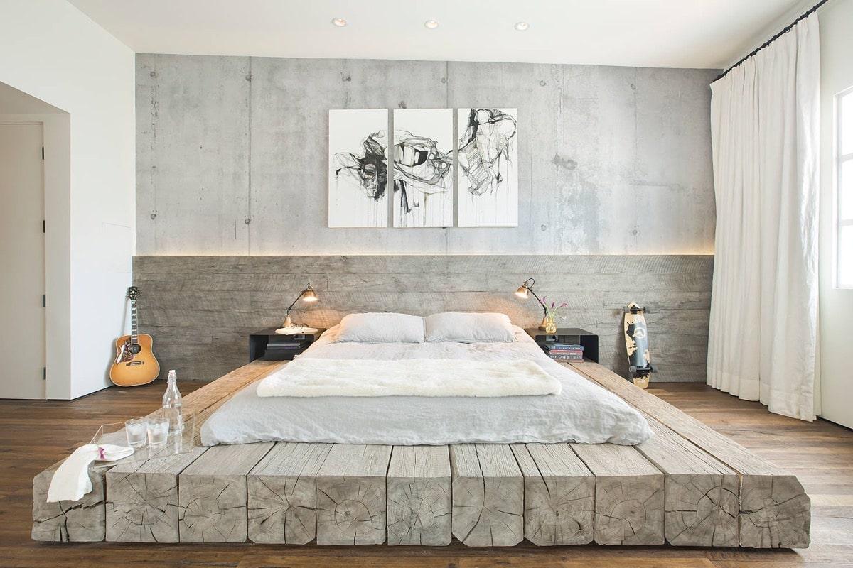 Смелый и оригинальный вариант оформления спальни в стиле лофт