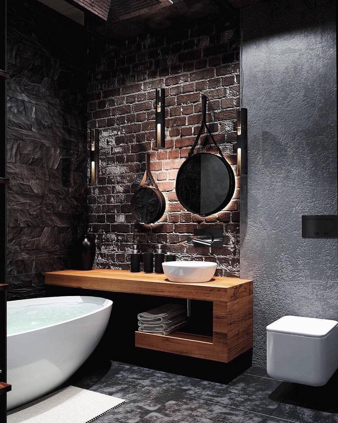 Красивая ванная из, казалось бы, грубых и несовместимых материалов