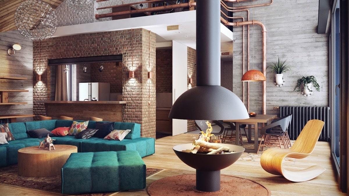 Яркий и позитивный дизайн гостиной в стиле лофт